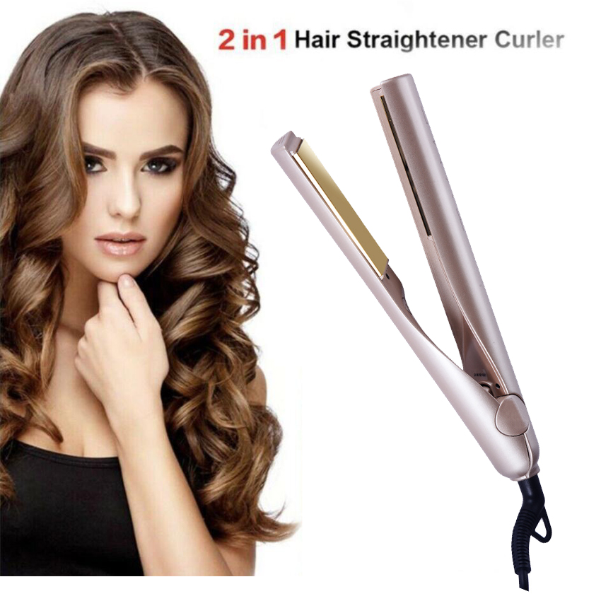 Professional Hair Iron 2 in 1 Hair Straightening Curling Gold Plated Titanium styling hair tool curling