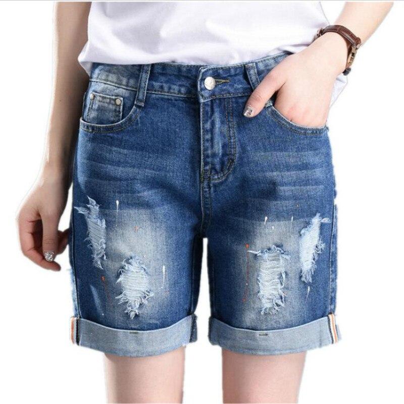 JOYINPARTY Large Size Denim Shorts Straight Hole Loose Jeans for Women 55-100 kg
