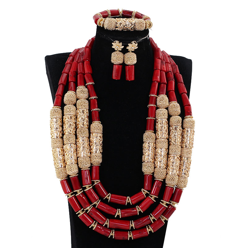 Luxury Wine Red Coral African Wedding Beads Jewelry Set Charms 4 Layers Real Coral Bead Statement Necklace Set for Brides BN319 2018 dubai gold statement necklace set charms 3 layers women coral african beads jewelry set real coral beads for brides abh762