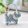 1 PC Fashion Originality Lovely Color Revising Cat Design Handbag Folding Bag Purse Hook Hanger Holder for gift Cat lock bling