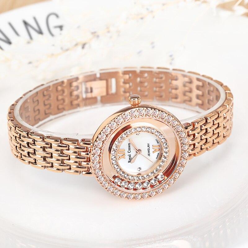 클로 설정 레이디 여성용 시계 일본 석영 패션 파인 스테인레스 스틸 팔찌 시계 소녀 생일 선물 로얄 크라운-에서여성용 시계부터 시계 의  그룹 3