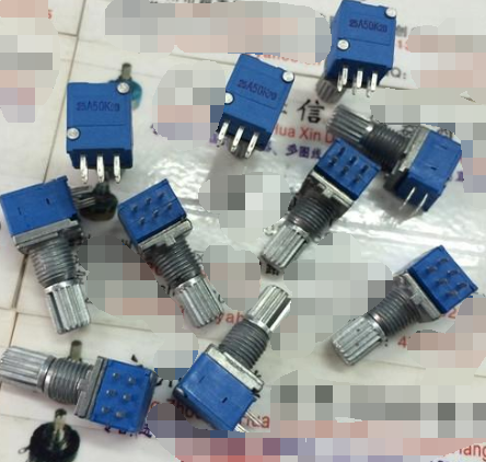 5pcs/lot RK097G Sealed Double Potentiometer A50K Handle Length 15MM Flower Blue