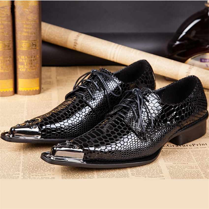 Black Fashion Men Metal Pointed Toe Genuine Leather Oxfords Mens Wedding Dress Shoes Lace Up Flat Shoes Chaussure Homme Creepers black fashion men metal pointed toe genuine leather oxfords mens wedding dress shoes lace up flat shoes chaussure homme creepers