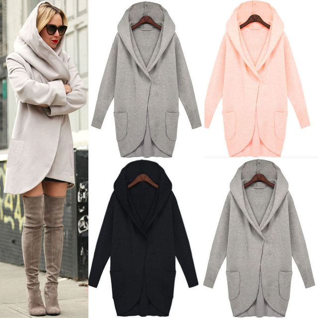 1468930fee98 utumn Winter Ladies Casual Loose Hooded Jacket Women Fashion Trench ...