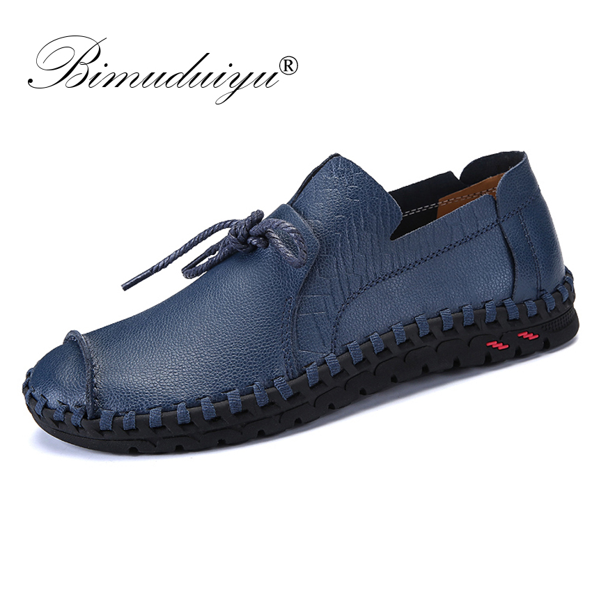 BIMUDUIYU Brand Fashion Men Shoes 2018 New Leather Shoes Non-slip Rubber Driving Shoes Spring Autumn Casual Shoes Men Footwear spring autumn new men driving shoes fashion breathable leather casual shoes korean version lace up rubber men shoes z180
