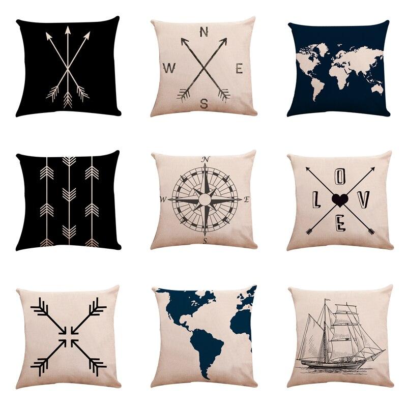 1PC 45x45cm Sea Blue Compass Map Printed Anchor Pattern Marine Ship Throw Pillow Case Decorative Pillowcase
