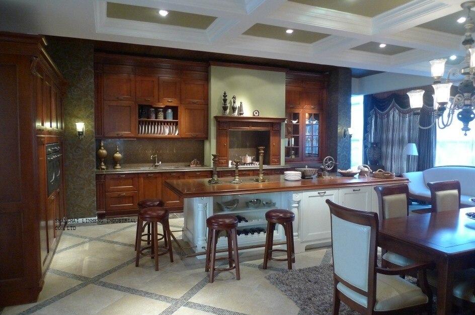 Clásico de todos los gabinetes de cocina de madera (LH-SW069)