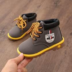 Из искусственной кожи детские для маленьких девочек мальчиков ботинки Водонепроницаемый дышащие на низком каблуке Ботильоны случайно