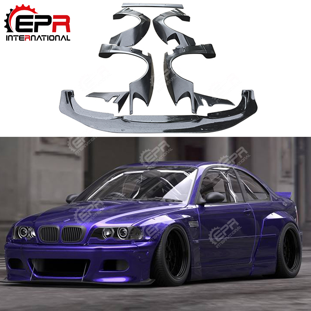 Us 1234 0 For Bmw E46 Coupe 2dr Rb Style Frp Glass Fiber Wide Body Kit Fiberglass Bodykit Cover Front Fender Lip Rear Fender Trunk Spoiler In Body
