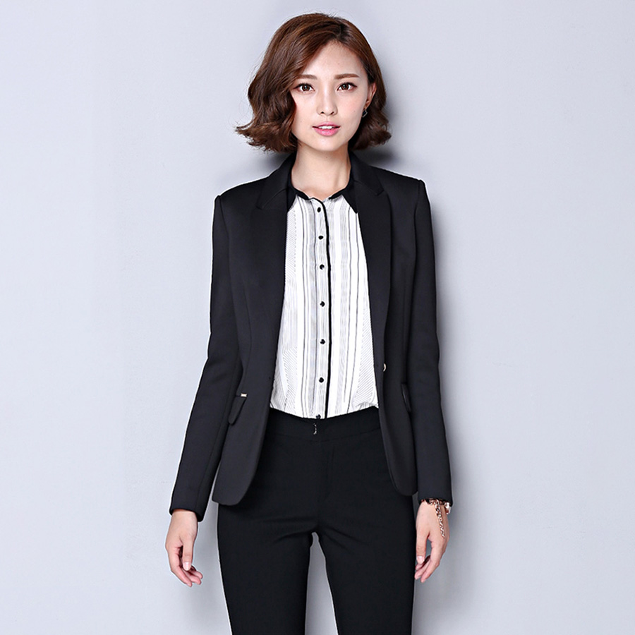 Fashion Jacket Blazers Ladies Suit Styles Coat Business Blazer Long Sleeve Korean Beauti ...