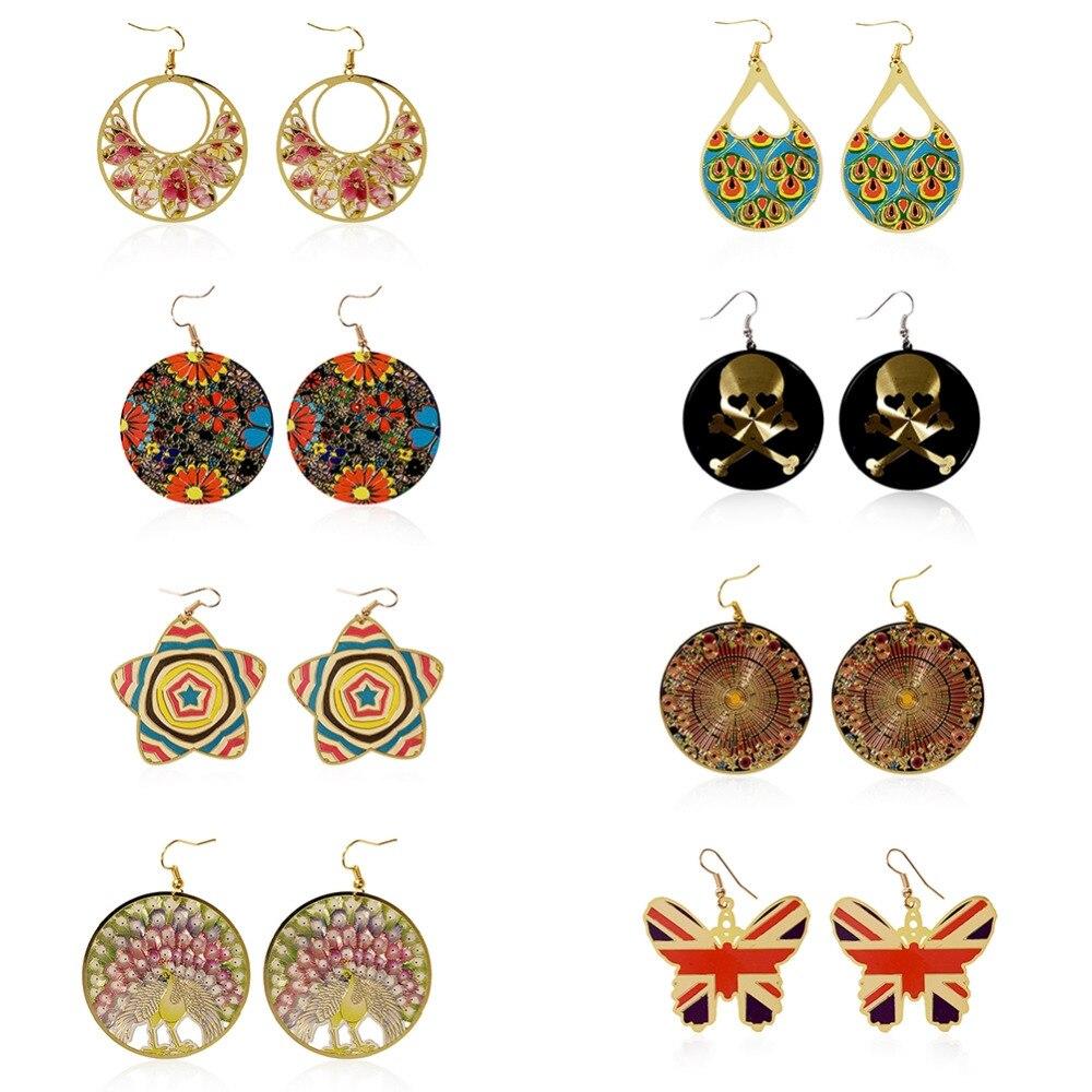 1Pair Geometric Pattern Earrings Jewelry Colourful Boho Printed Oval Dangle 8 Style