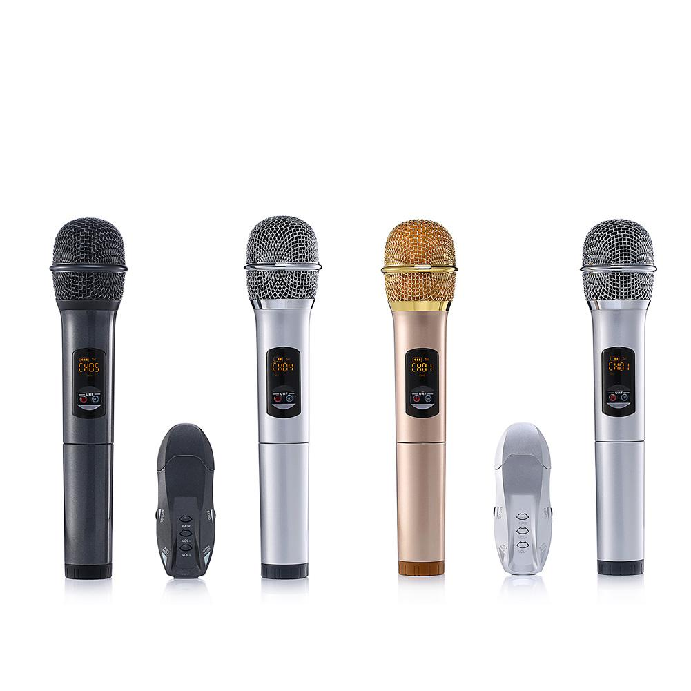 Double UHF Wireless Lightweight Handheld Microphones K18U Bluetooth Microphone with Receptor Various Frequency 10 Channel excelvan k38 dual wireless microphones with receiver box various frequency high end microphonfor home entertainment conference