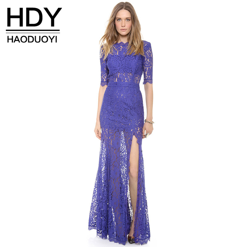 HDY Haoduoyi Half Sleeve High Low Hem Backless Blue Women Lace Maxi Dress Side Split Sheer Sexy Long Evening Party Club Dresses