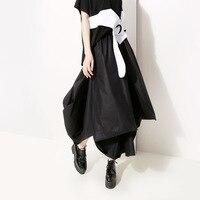 Women Summer High Waist Oversized Loose Casual Glossy Ball Gown Skirt Female Streetwear Punk Gothic Irregular Black Long Skirt
