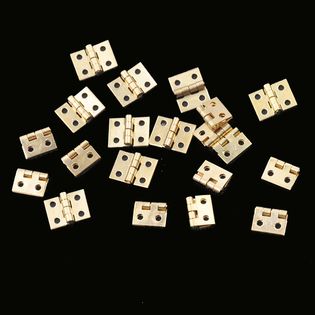 20pcs Cabinet Door Hinges Brass Plated Mini Hinge Small Decorative Jewelry Wooden Box Furniture Accessories 8mm*10mm