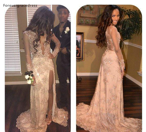 Long Sleeves Prom Dresses 2019 South African Black Girls Beaded Deep V Neck Holidays Graduation Wear Evening Party Gowns