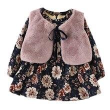 Baby girls vest +flower dress 2pcs baby warm outerwear baby clothes autumn winter children clothing