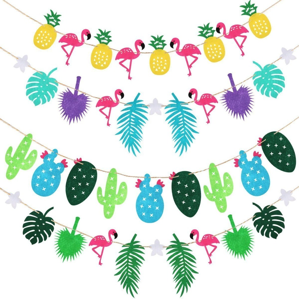 Flamingos Pineapple Coconut leaf Garland Bunting Banner Baby Shower ...