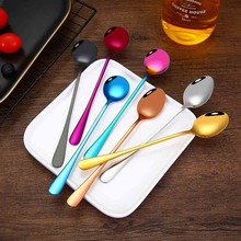 VOGVIGO Stainless Steel Tea and Coffee with Long Handle for Kitchen Colorful Spoon Mixing Ice Cream Scoop Dessert