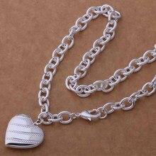 AN746 Модные оптовая серебряное Ожерелье, 925 серебряных ювелирных изделий Грубый грубый зерна сердце ожерелье/cdfakuma hbbapsia