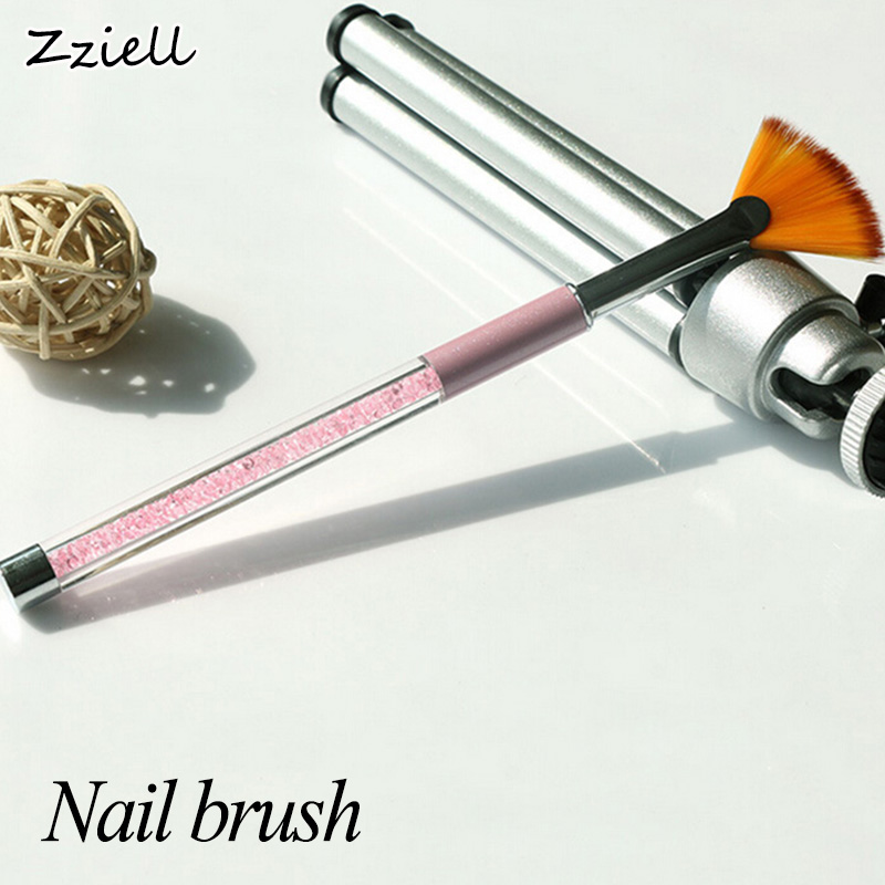 Zziell 1Pcs Gradient Fan Shape Nail Pink Rhinestone Handle Dust Glitter Powder Remover Pen Nail Art Drawing Pen Liner Brush