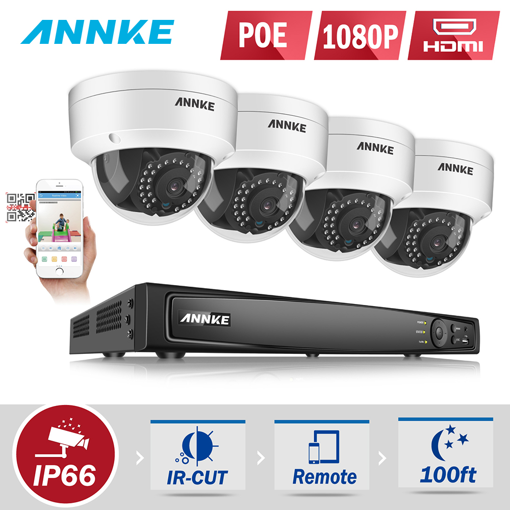 ANNKE Professional 1080P POE Security Camera System 2.0MP 8CH Security NVR With 4x 1080P CCTV Dome Cameras