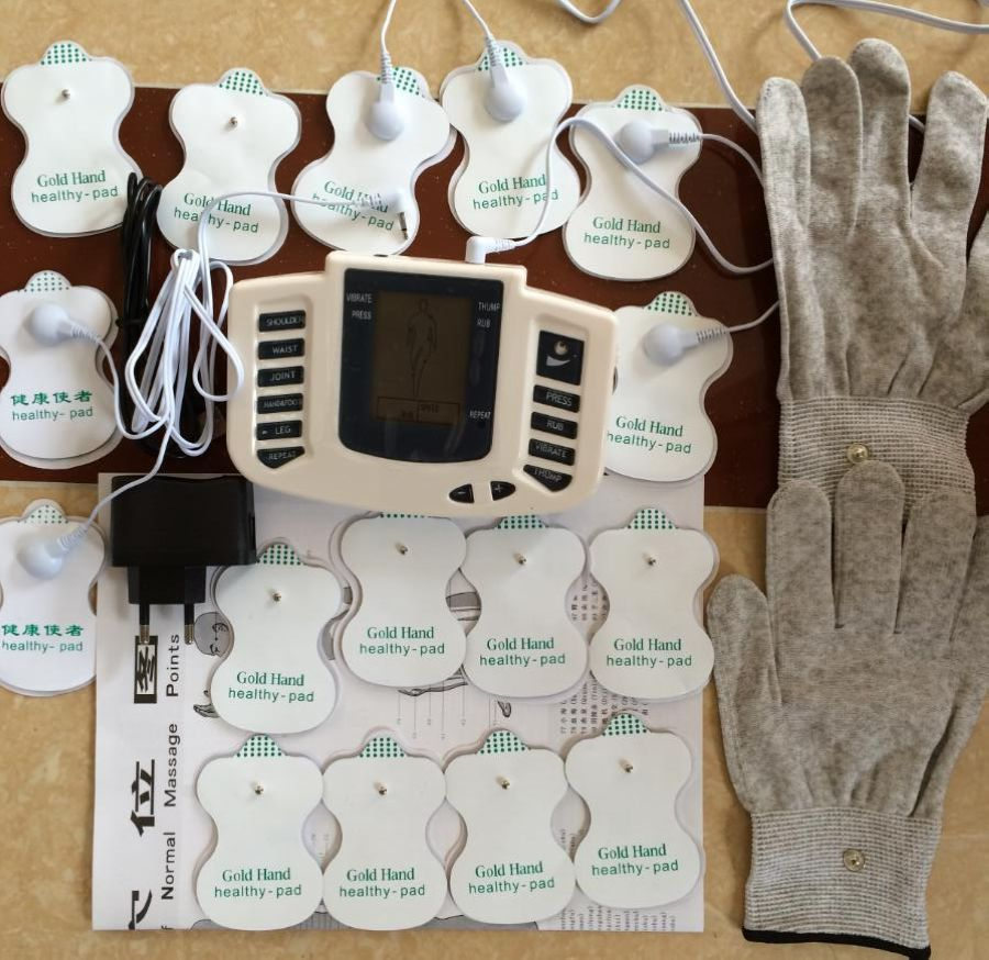 JR309 Health Care Electrical Muscle Stimulator Massage Tens Acupuncture Therapy Machine Slimming Body Massager 16pcs pads+gloves