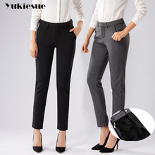 YUKIESUE Plus Size Formal Pants for Women Office Lady winter fleece Work Straight