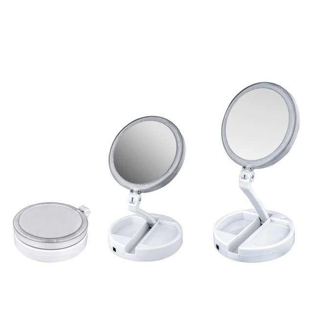 Double Sided Rotation Folding USB LED Lighted Makeup Mirror Touch Screen  Portable Tabletop Lamp Cosmetic
