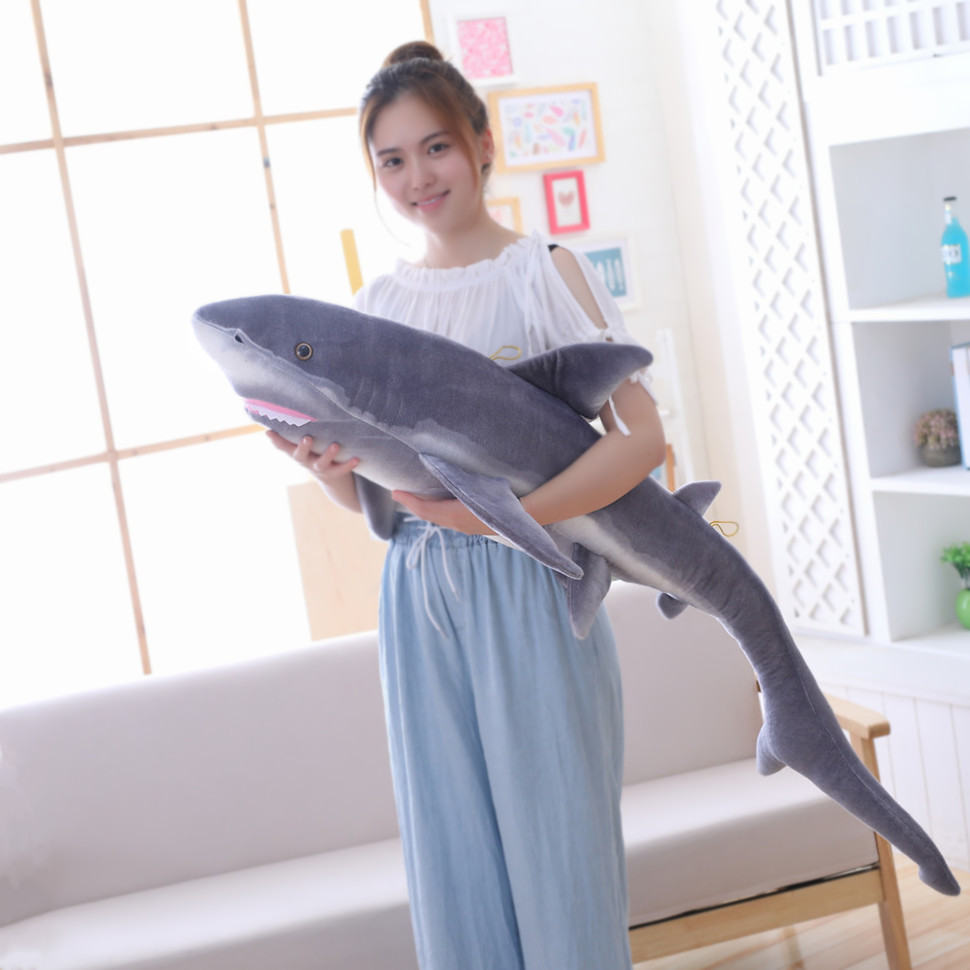 new 100/140cm Big Size Funny Soft Bite Shark Plush Toy Pillow Appease Cushion Gift For Children image