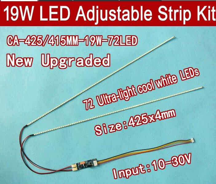 Free Shipping 5pcs 19'' W 425mm Adjustable Brightness Led Backlight Strip Kit,Update 19inch-wide LCD CCFL Panel To LED Backlight