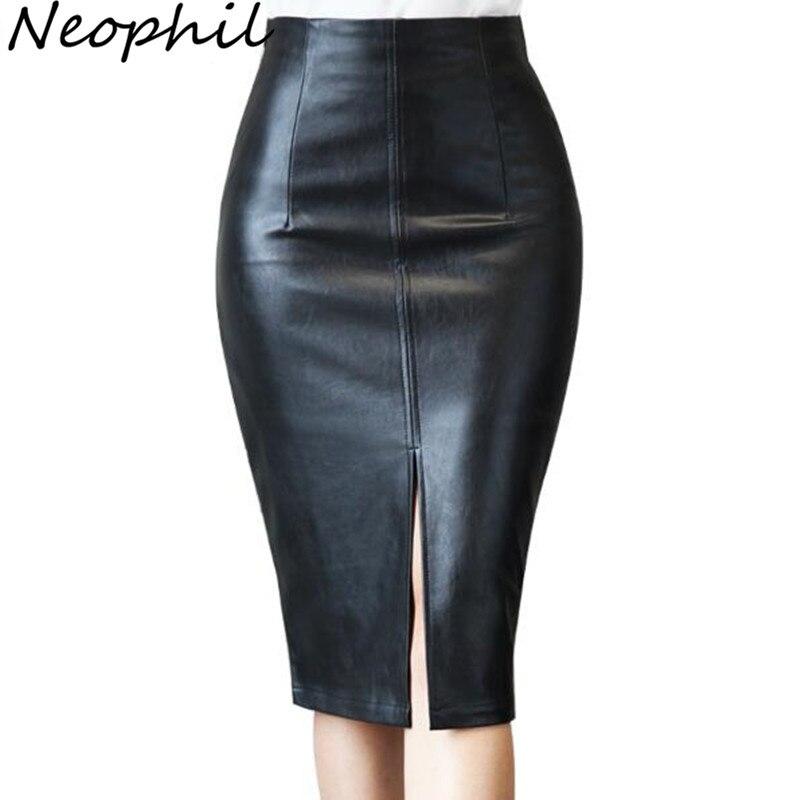 Neophil 2019 Winter Retro Ladies Black PU Faux Leather Sexy Midi Pencil Skirts Plus Size 5XL Bodycon Office Work Wear Saia S1002
