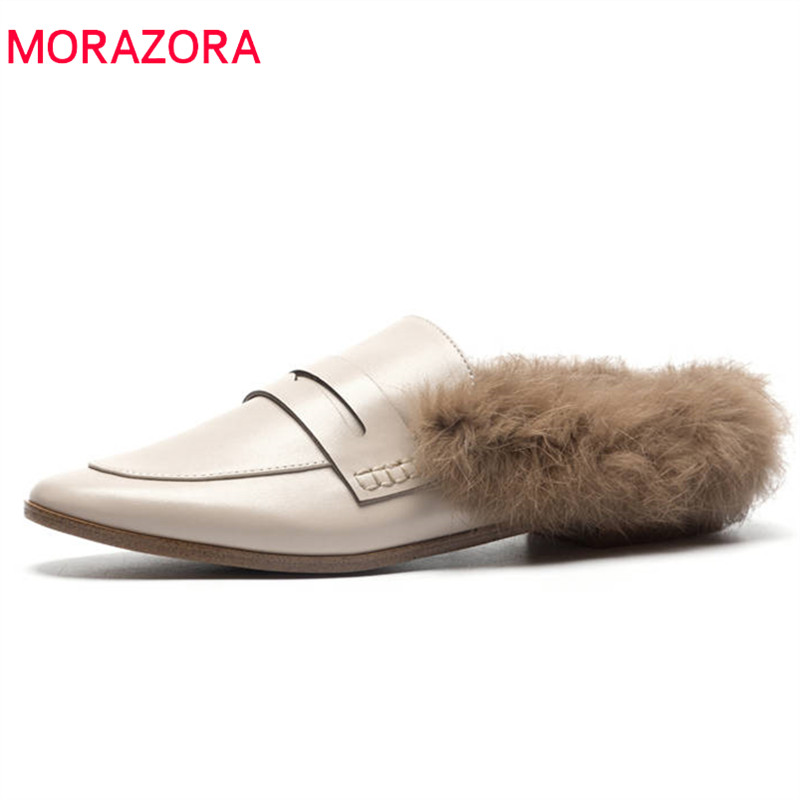 MORAZORA 2018 top quality genuine leather shoes slip on solid colors warm autumn winter shoes comfortable flat shoes women стоимость