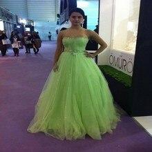 2016 heißer Verkauf Glamorous Prom Kleid Mit Perlen Hellgrün Tulle Kleid Abendkleid Benutzerdefinierte vestido de festa gala jurken