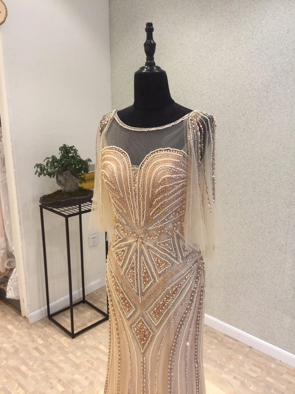 Gouden luxe zeemeermin avondjurken lange 2017 vestidos de baile - Jurken voor bijzondere gelegenheden - Foto 5