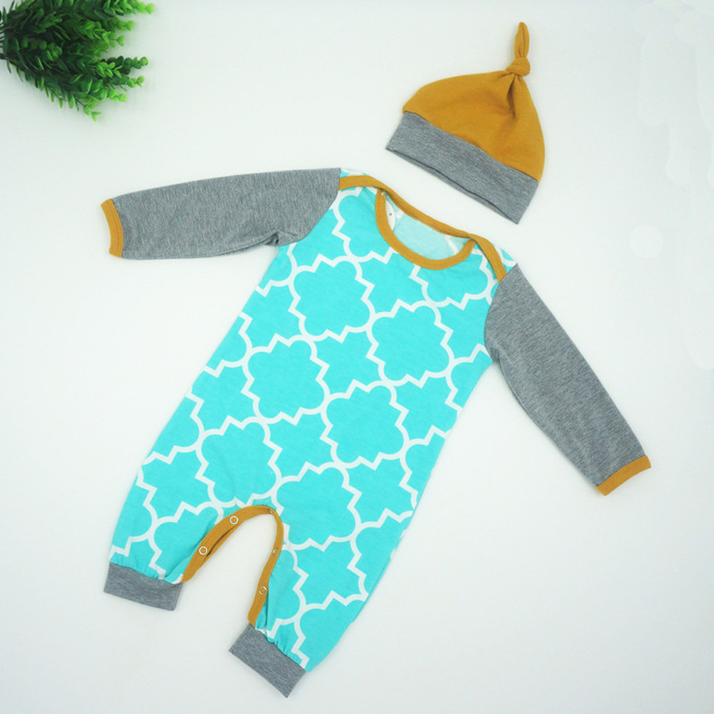 Fashion Kids Infant Baby Boys Girls Long Sleeve Romper+Hat Outfits Clothes Baby Zomer Kleding Meisje New Products Bebe Clothes