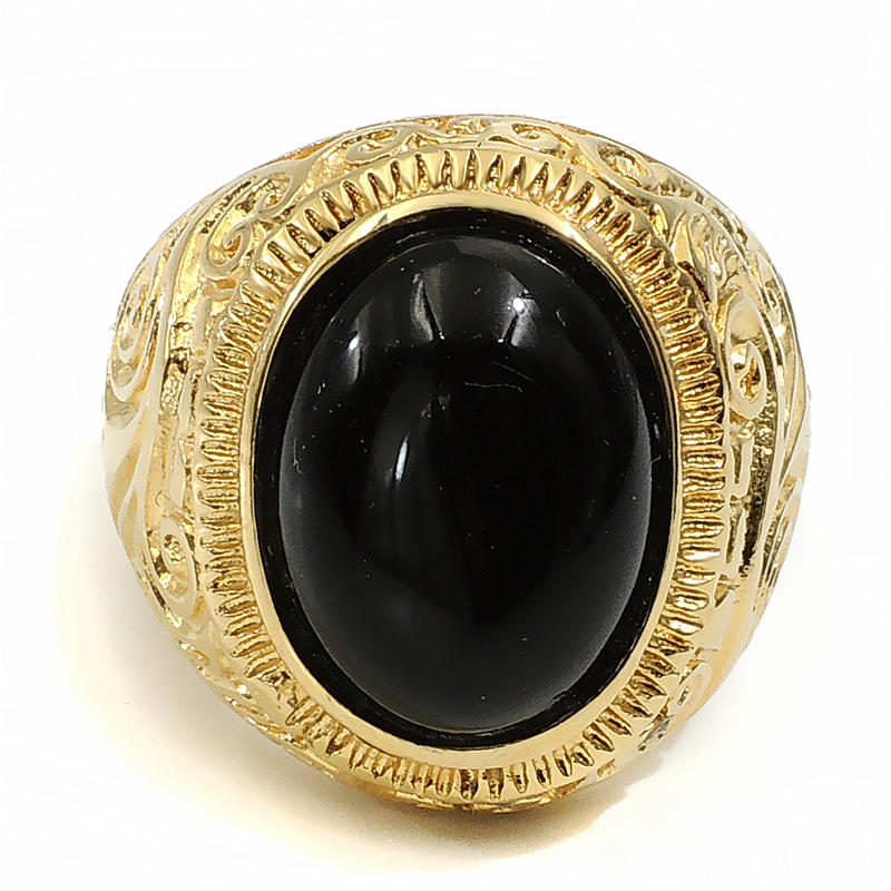Men S Women S Gold Ring Natural Oval Black Onyx Turquoise