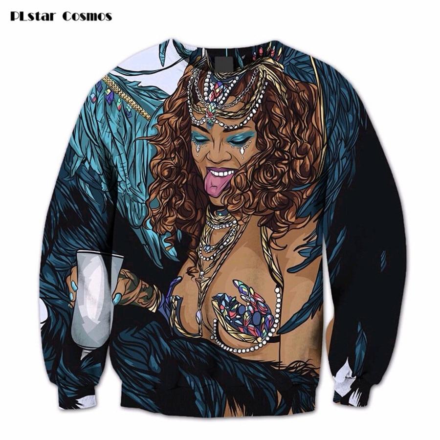 Free Shipping Women/Men Long Sleeve Outerwear 3D Print Sexy Rihanna X-Rated Crewneck Pullovers Female Fashion Casual Sweatshirt