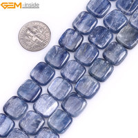 Gem Inside Natural Flat Square Blue Kyanite Beads For Jewelry Making 18mm 15inches DIY Jewellery