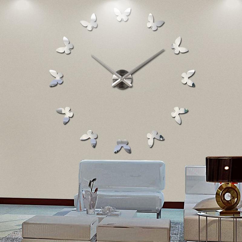 2019 new wall clock reloj de pared clocks modern design Europe acrylic mirror 3d quartz watch home decor stickers living room