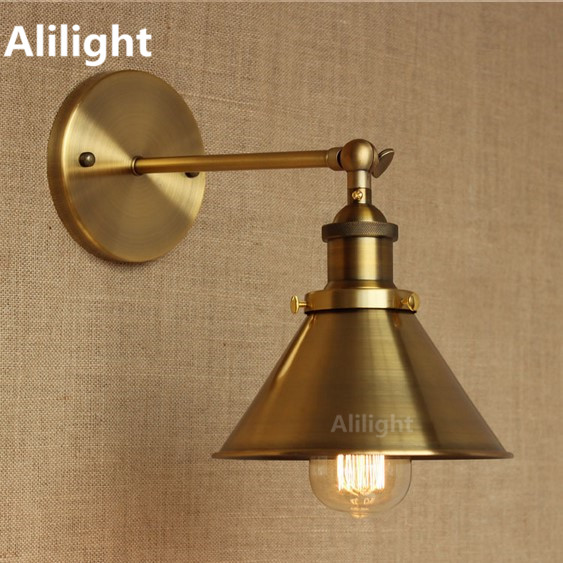Copper Wall Lamps America Industrial Brass Vintage Wall Light Sconce for Indoor Decor Cafe Room Edison E27 Home Lighting Fixture
