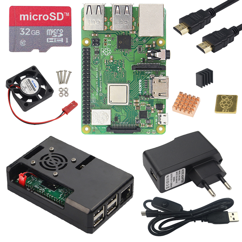 Original UK Raspberry Pi 3 Model B Board with WiFi Bluetooth ABS Case Power Adapter Heat
