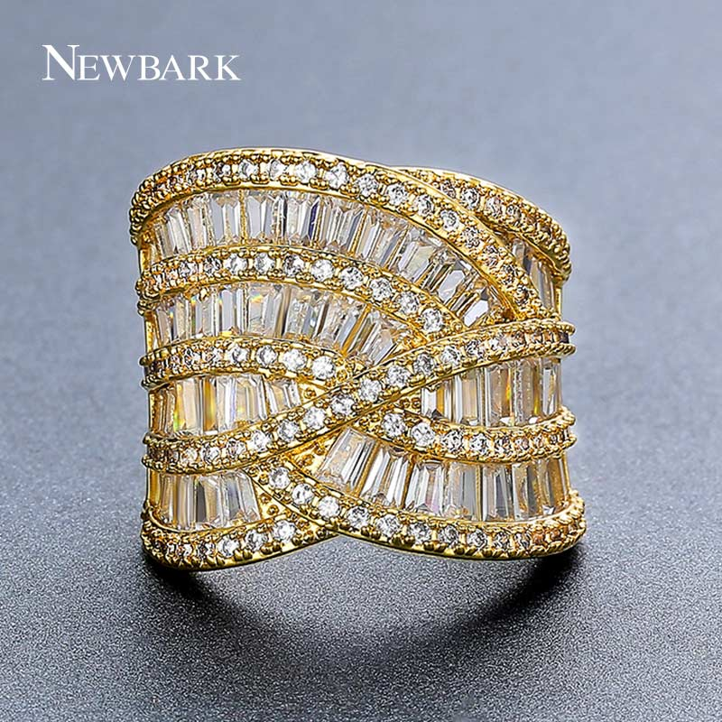 NEWBARK Channel Setting Rings For Women Size 6 7 8 White Gold Color And Gold Color