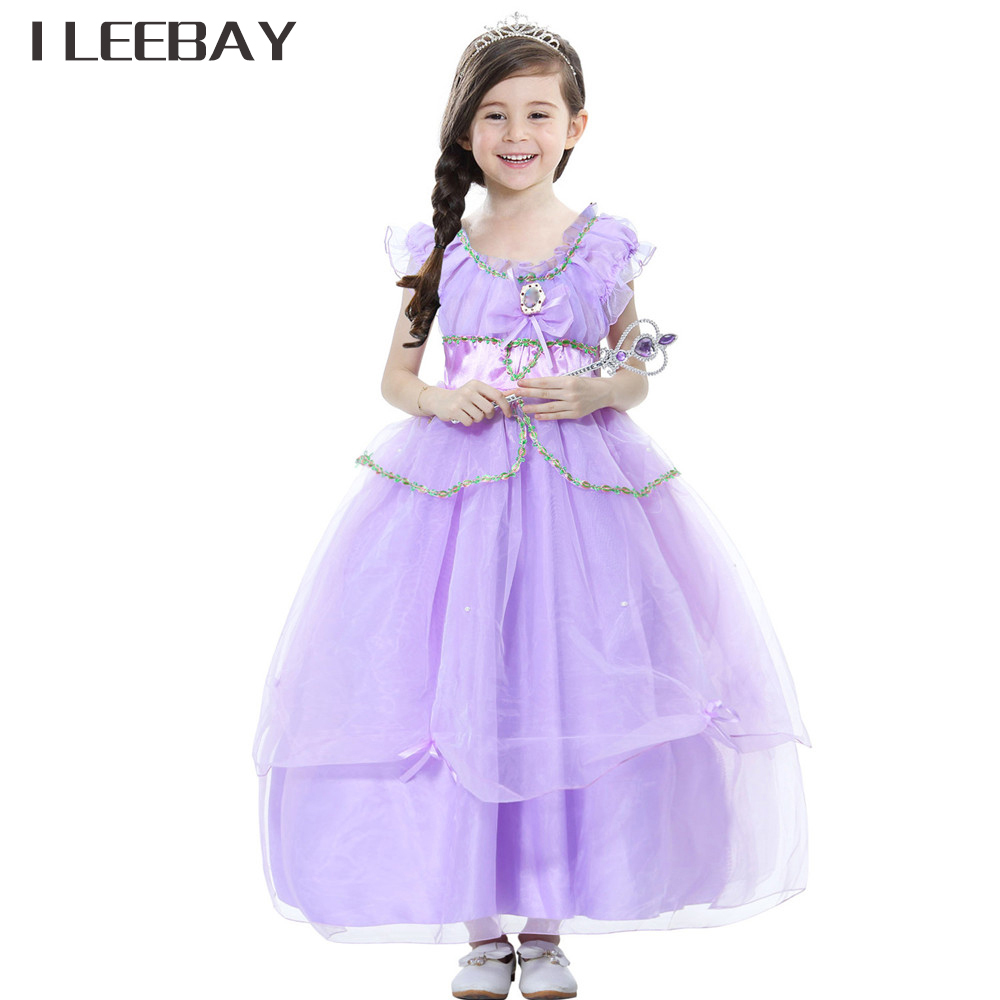 High Quality Kid Girls Princess Long Dress Baby Cartoon Clothes Children Halloween Party Sofia Rapunzel Cosplay Costume Vestidos купить