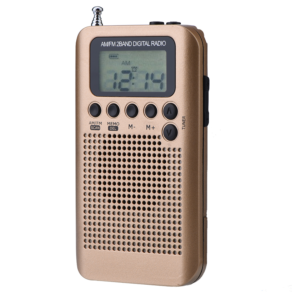 SOONHUA Digital Radio 2 Band 8UV Stereo Radios Digital Tuning Radio AM/FM Decoding Pocket Radios Gold