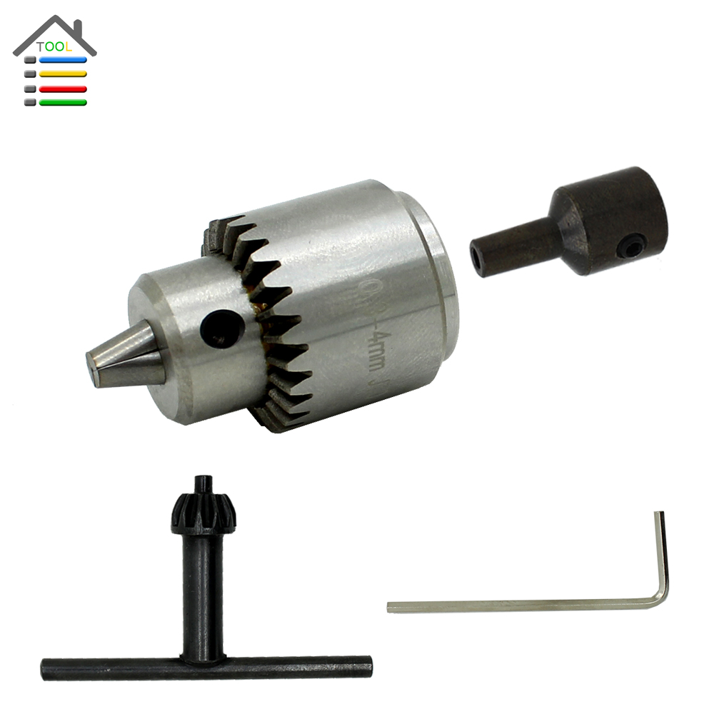 AUTOTOOLHOME Drill Chucks Cap 0.3-4mm JTO Mount Taper fit Lathe PCB Mini Hand Drill Presses for 6mm Motor Shaft Rod autotoolhome mini dc 12v electric motor for wood pcb hand drill press drilling 0 5 3mm twist bits and jto chucks bracket stand