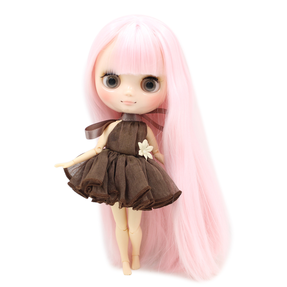 Middie blyth doll 210BL2352 Pink long hair with bangs 20cm joint body gray eye middle blyth