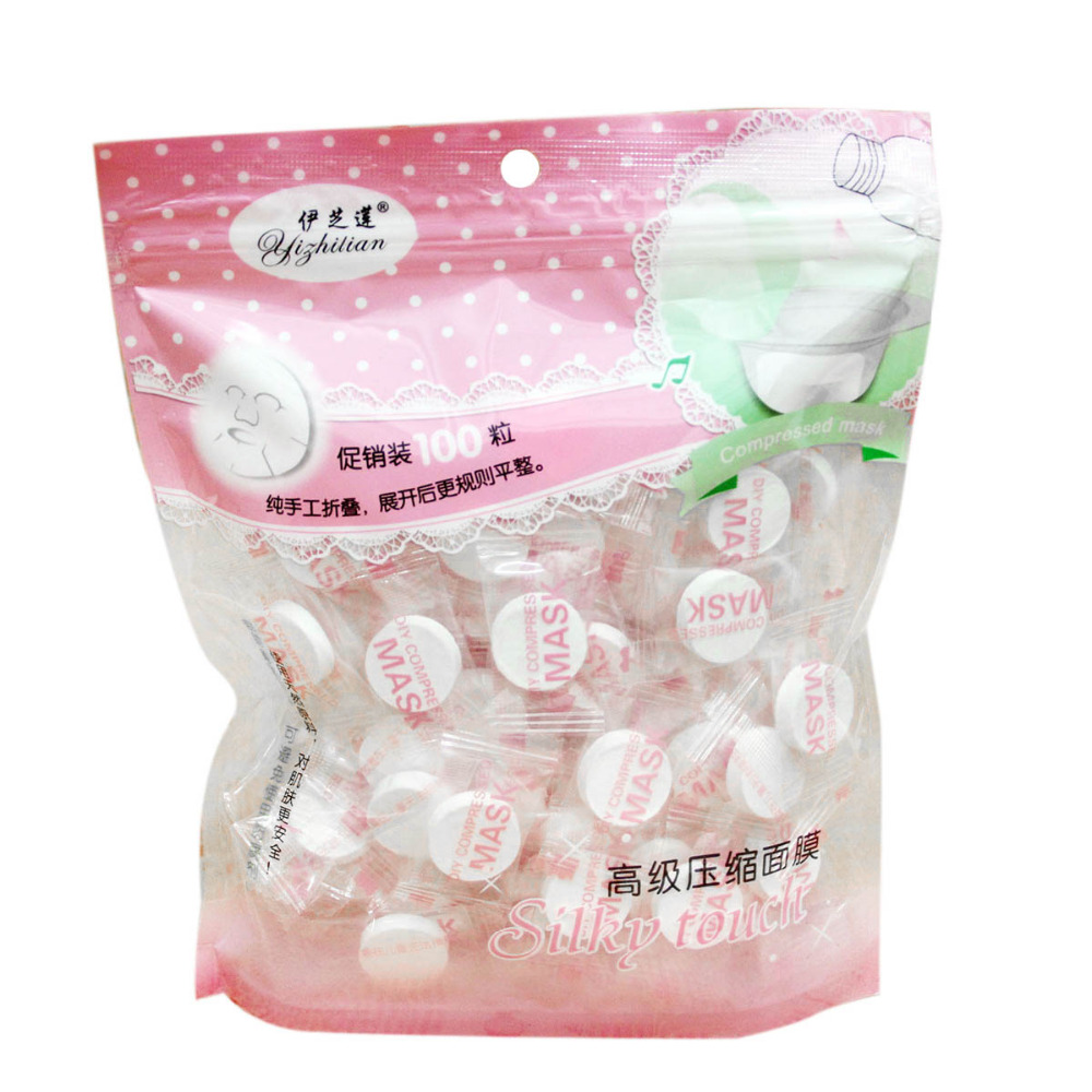 Compressed Face Mask Disposable Women Beauty DIY Facial Masks Paper Natural Skin Care Wrapped Masks Make up Tool 100pcs/pack