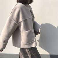 2018 Women Lamb Fur Jackets Coats Beige O Neck Korean Fashion Loose Thick Open Stitch Casual Coats Outerwears