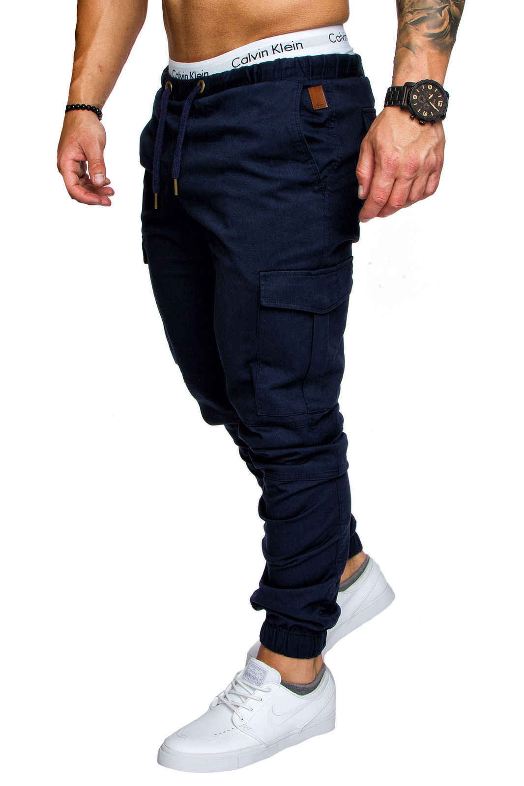2018 sıcak tarzı takım rahat pantolon cep erkek dokuma kumaş askeri taktik pantolon streetwear sweatpants kargo pantolon